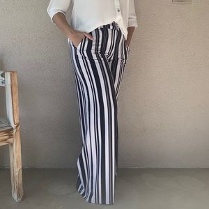 NY&Co Stretch Wide Leg Striped Slacks Pants 6